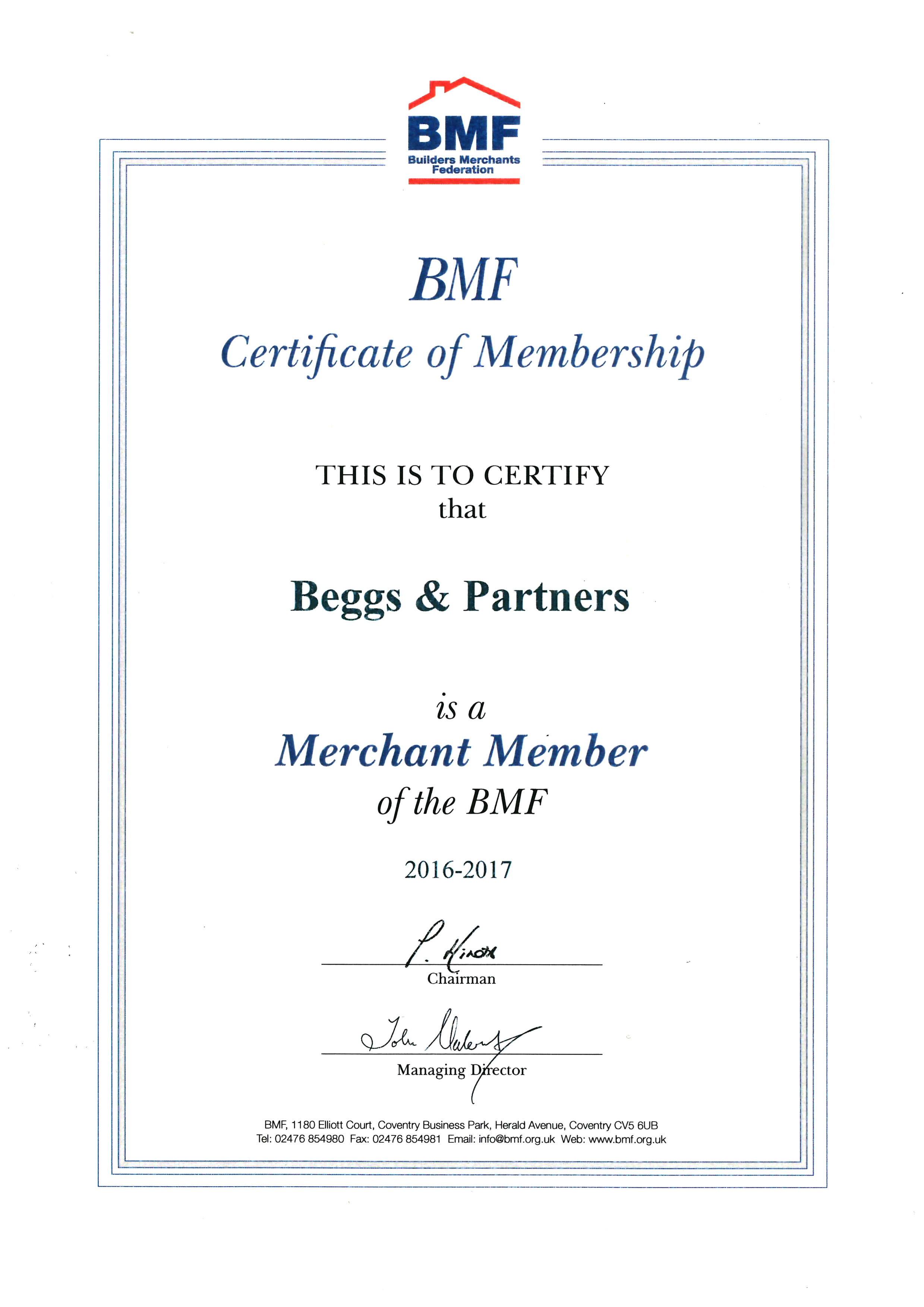 BMF certification 2017